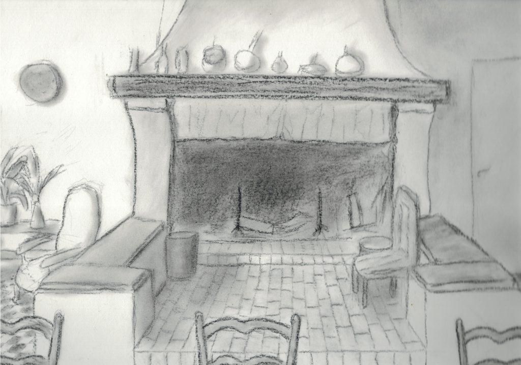 Dessin d'une grande cheminée