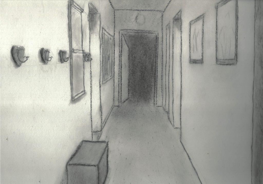 dessin d'un couloir dans une maison