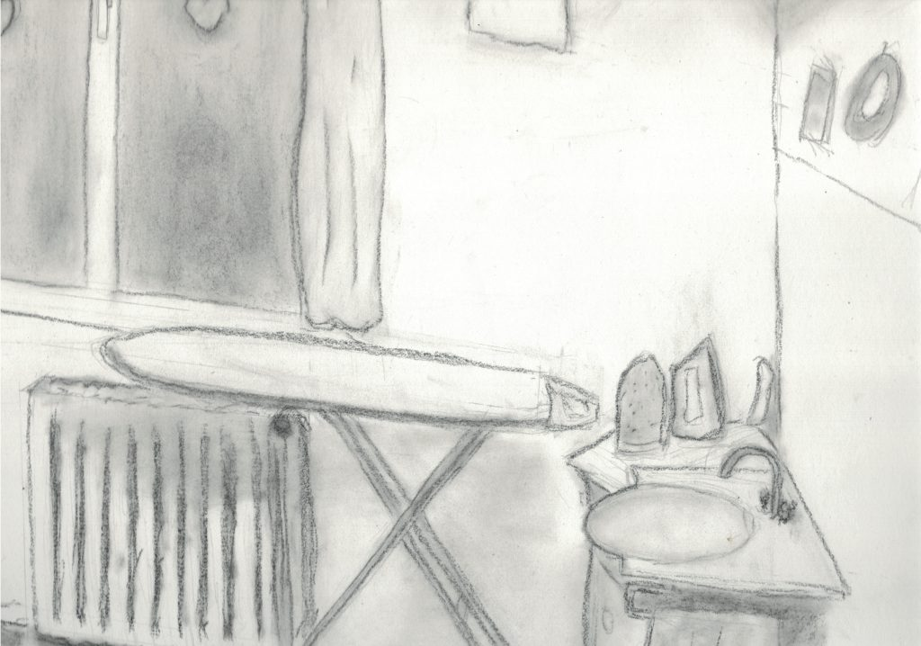 Dessin d'une pièce avec une table à repasser