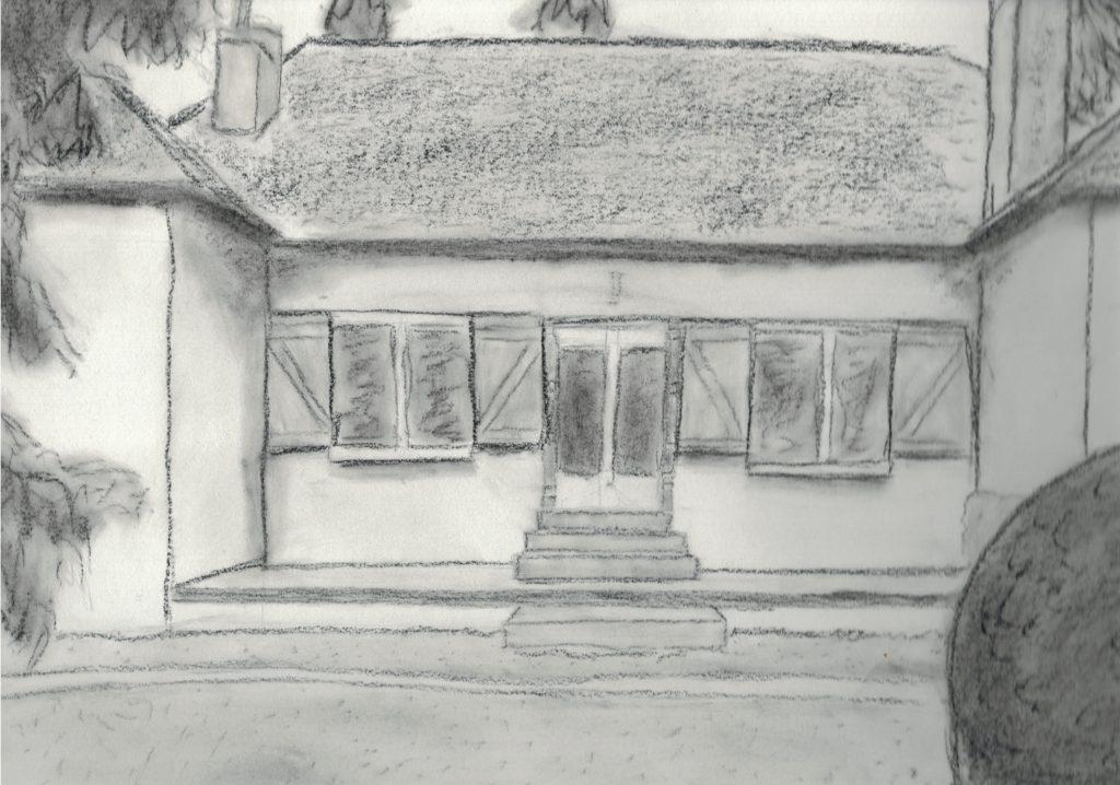 dessin de maison vue de l'extérieur