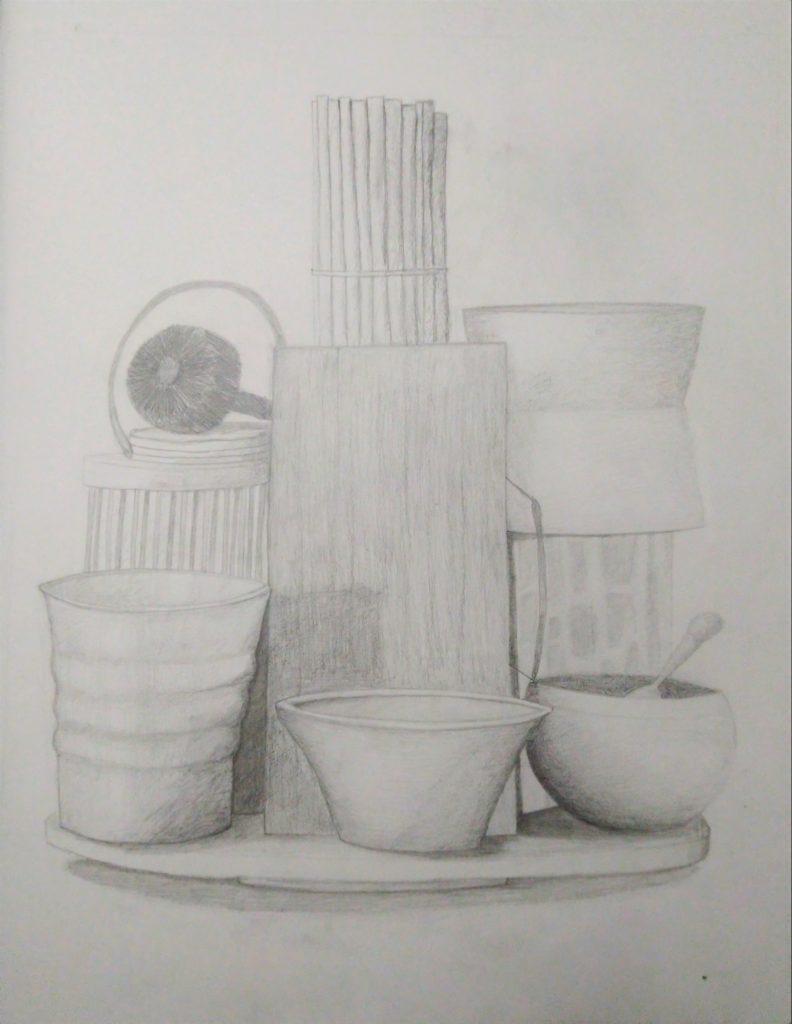 dessin de composition d'objets