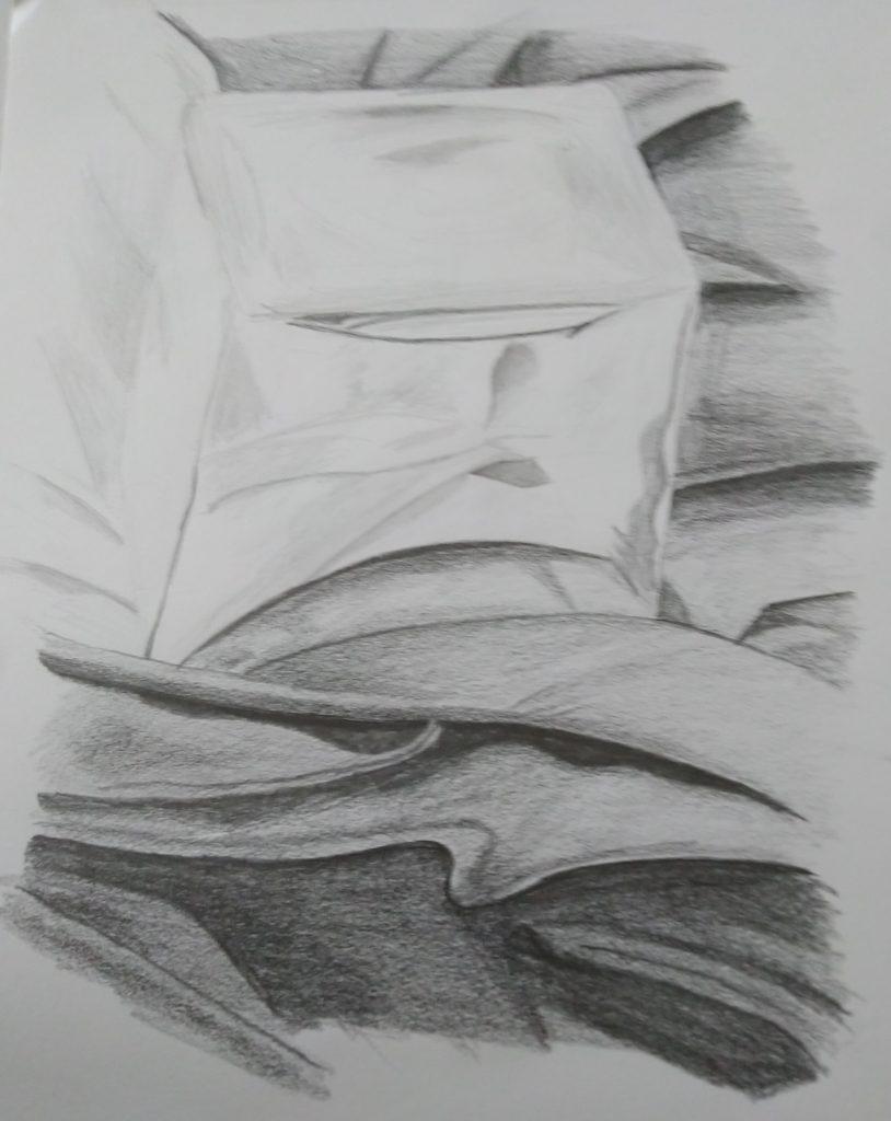dessin cube en verre et drappé