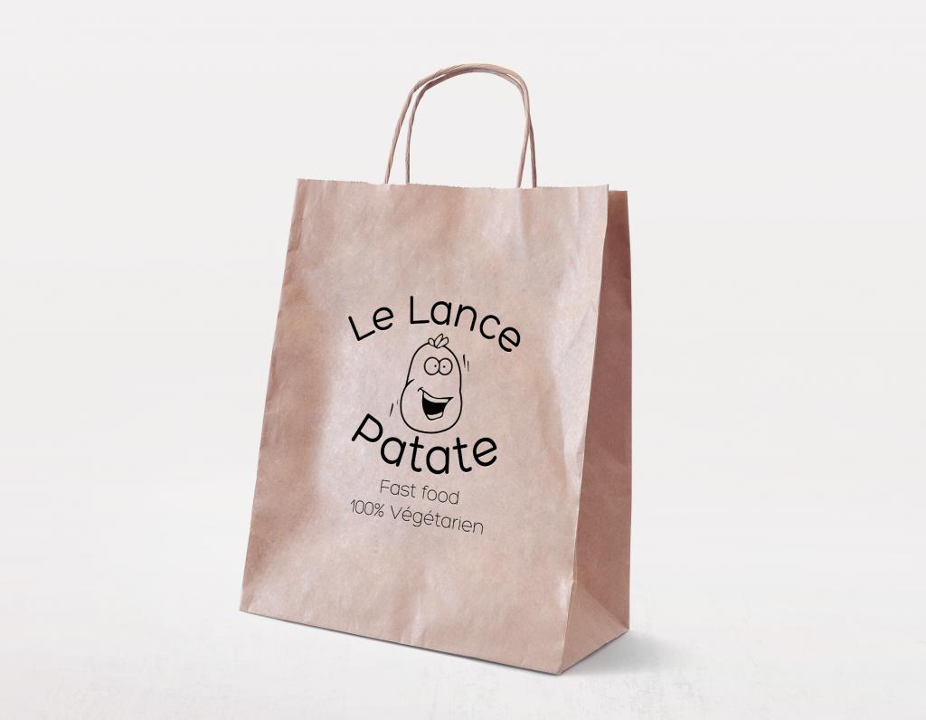 sac en papier avec le logo en noir